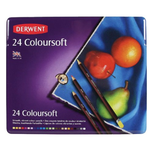 Lápices Derwent Set Coloursoft en Lata - Colores Suaves - Imp Inglaterra - 24 PC