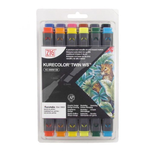 Marcadores Kurecolor Set de 2 puntas - Recargables - Profesionales - KC3000 Basic Color Collection - 12 PC