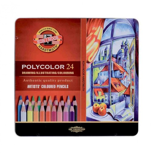 Lápices Koh-i-noor Polycolor en Lata - 24 PC